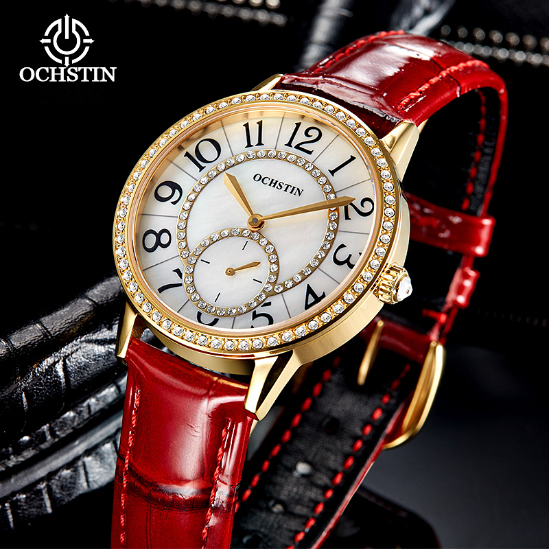 OCHSTIN Rhinestones Women Casual Watch 30M Waterproof Luxury Brand Quartz Female Watches Clock Ladies Gold Dress Wristwatch weiqin new 100% ceramic watches women clock dress wristwatch lady quartz watch waterproof diamond gold watches luxury brand