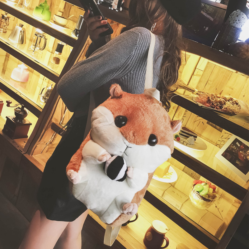 Lovely Lint LOLITA Women Plush Squirrel Backpacks Cute Girls Toy Backpack Cartoon Bag Toy Bag White Cute Fluffy School Backpack fluffy synthetic lolita curly flax mixed gold long side bang capless cosplay wig for women