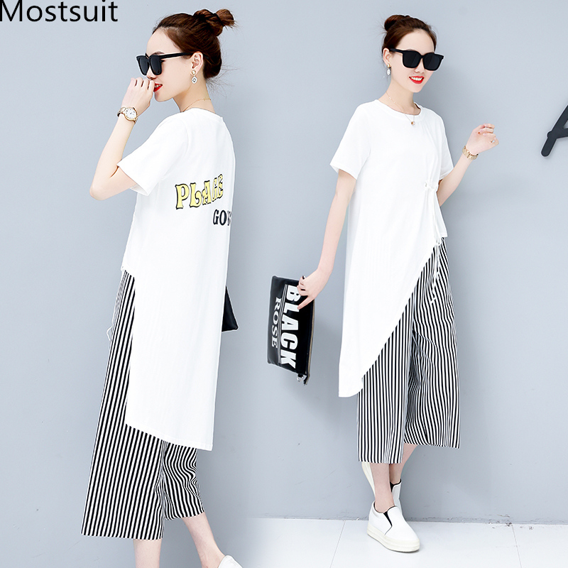 Summer Casual Two Piece Sets Women Black White Short Sleeve Tshirt And Striped Wide Leg Pants Sets Suits Plus Size Women's Sets 31