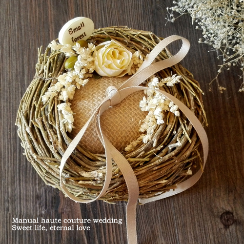 Original Forest Natural Birds Nest Ring Pillow Fl Branch Burlap Wedding Bearer Box