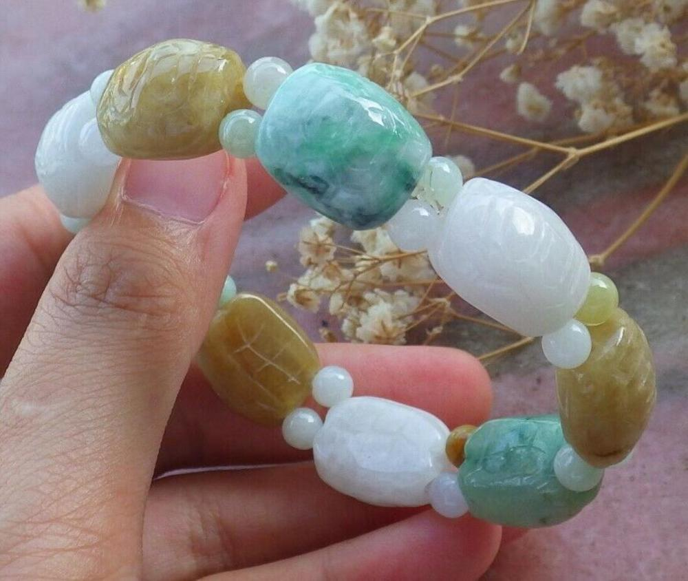 Certified Green Yellow Natural A JADE Jadeite Turtle Beads Bangle Bracelet