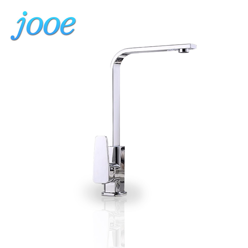 jooe Contemporary Square Kitchen Faucet Chrome Finished Hot and cold Mixer Tap Single Handle Sink Faucet