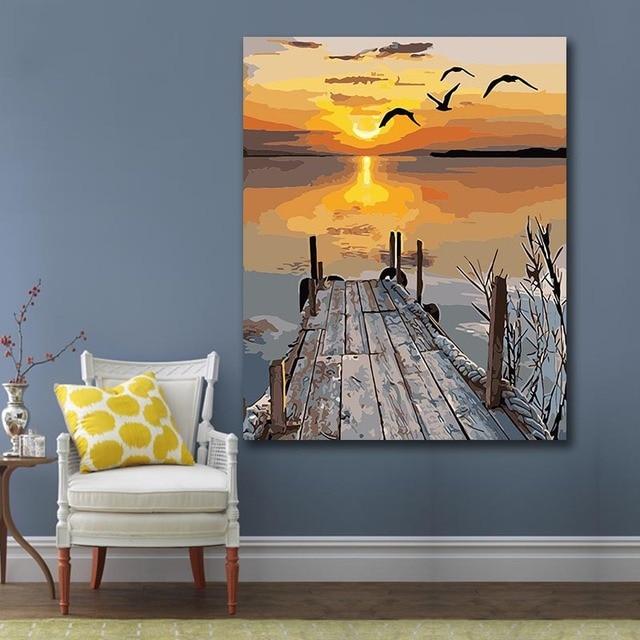 Peinture à numéros coucher de soleil au bord de l'eau 40×50 framed 2