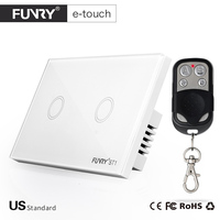2017 Funryn New US Standard 2 Gang RF433 Wireless Touch Remote Control Wall Light Switch Smart