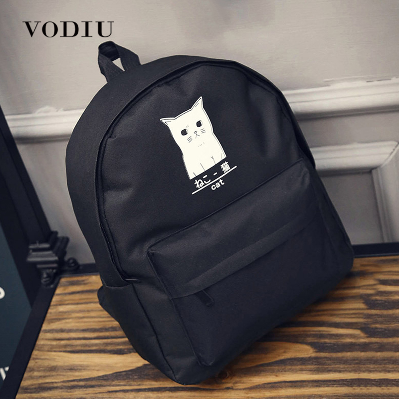 Backpack For Teenagers Girls Designer Harajuku Cat Anime Canvas Black Waterproof School Boys Brand Mochilas Women Laptop Bag