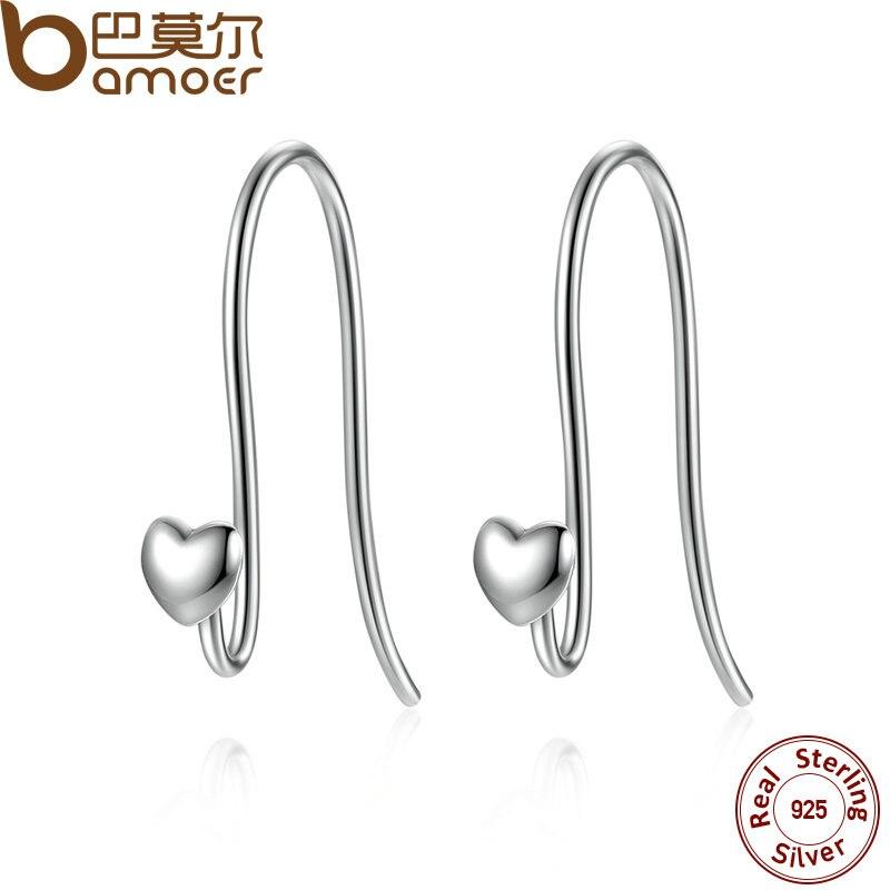 BAMOER 925 Sterling Silver Heart Classic Brand Earrings Jewelry for Women Fine Jewelry Femme Brincos PAS468