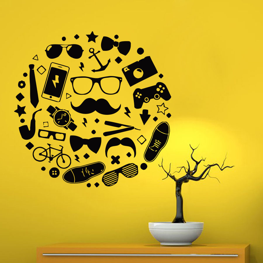 Room Vinyl Wall Decal Life of Man Accessories Glasses Phone Game Remote Barbershop Art Wall Sticker Shop Boys Bedroom Decoration