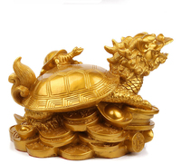 Pure copper dragon turtle up dragon turtle handicraft anti small office study supplies golden Decoration Home Arts Crafts