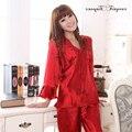 De color rojo más el tamaño de verano de seda del pijama mujeres del cordón v cuello de manga larga bordado floral de dos piezas de las señoras ropa de dormir