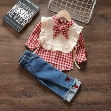 Новая весенняя одежда для девочек; Новинка года; модная детская блузка для отдыха из двух предметов; сезон весна-осень