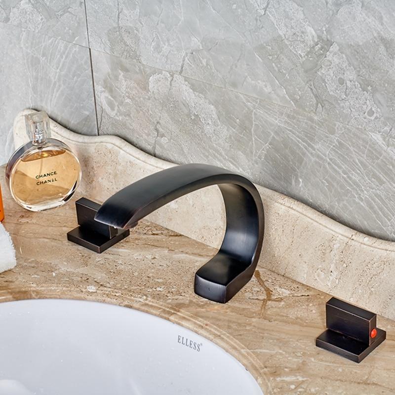 Modern Oil Rubbed Bronze Widespread Bathroom Tub Faucet Dual Handles Mixer Tap black oil rubbed bronze bathroom dual handles dual control wall mounted bath tub mixer tap handheld shower head faucet wtf566