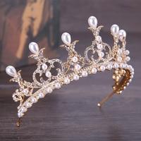 Vintage Gold Baroque Pearl Flower Headbands Crowns Wedding Hair Accessories Bridal Jewelry Headpieces Tiaras GL 345