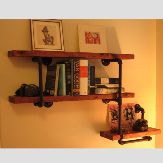 American Iron loft shelf bookcase shelf wood wall wall vintage furniture and creative water