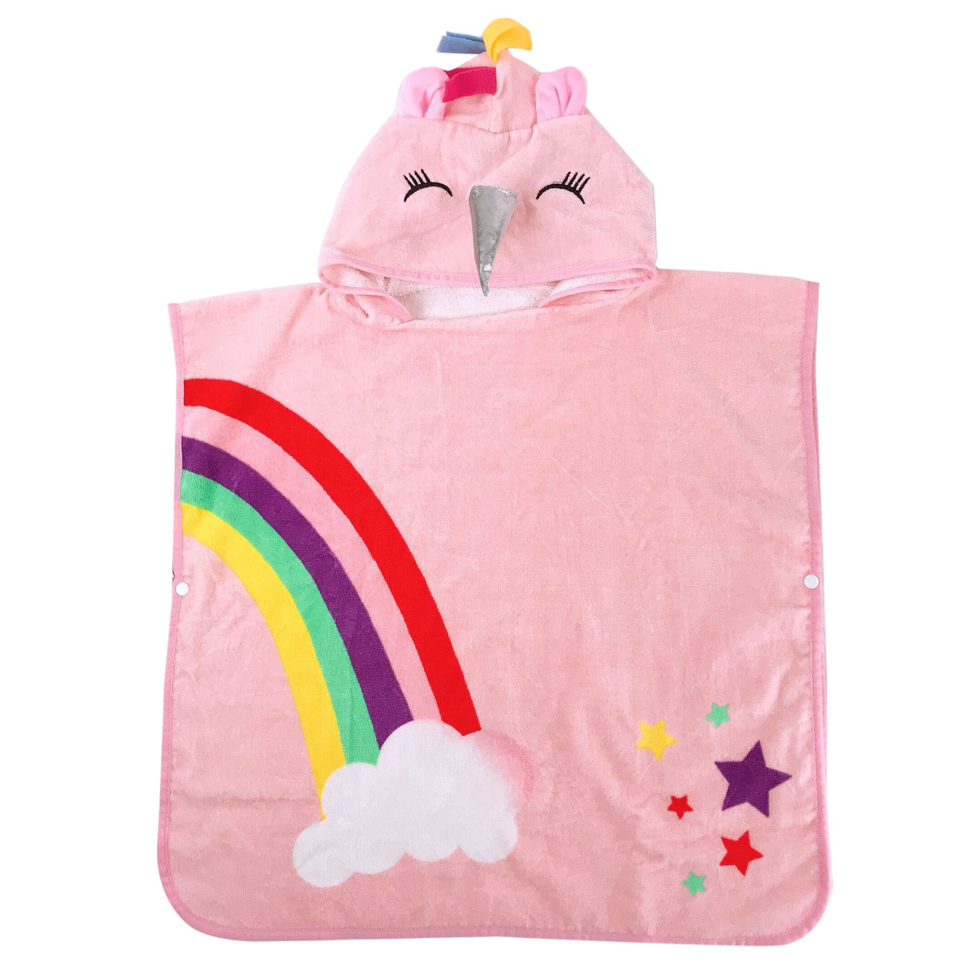Hooded Beach Bath Towels For Kids 2-6 Yeas Old Cute Pink Unicorn With Rainbow Poncho Swim Towels Warp Compact Cover Up Gifts