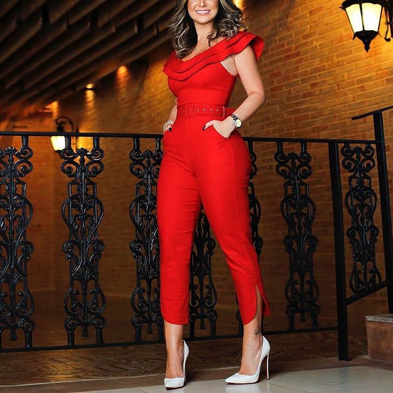 2019 Spring New Fashion Women Stylish Elegant Party Romper Layered Ruffle Split Leg Slinky   Jumpsuit   Female Overalls