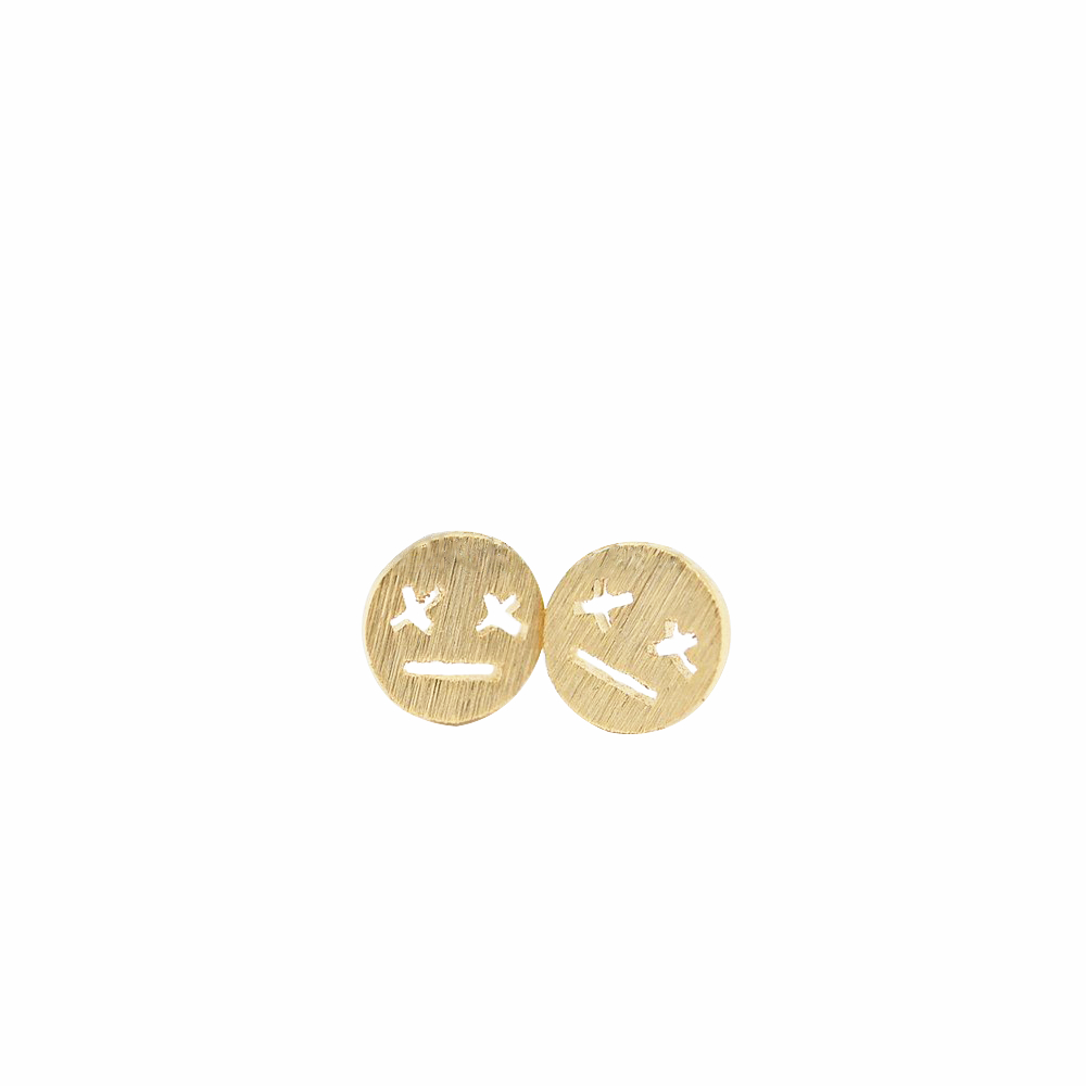 Fashion dull expression stud earrings Lovely XX eyes staring blankly stud earrings Emotional symbol stud earrings for women