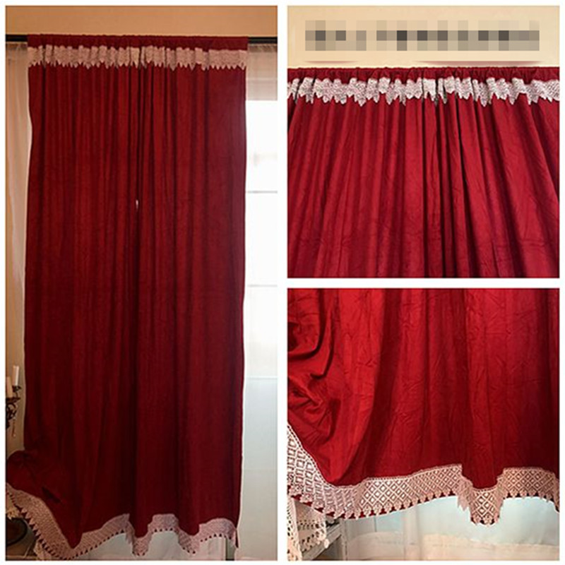 European Style Retro Suede Fabric Rod Pocket Bed Room Curtain Lace