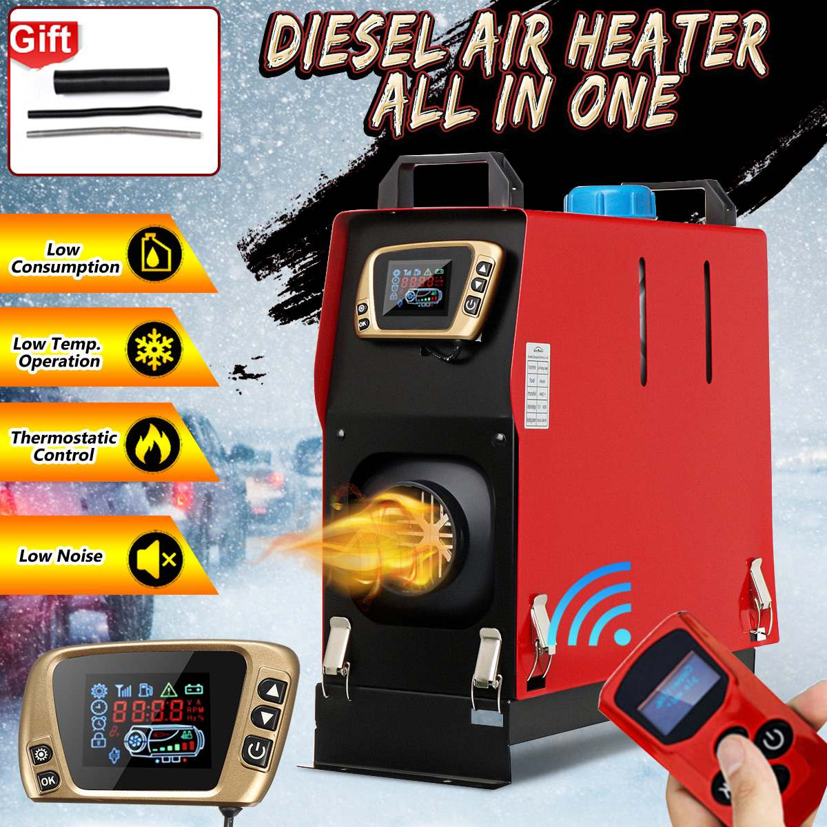All In One Diesel Air Heater Host 1-8KW Adjustable 12V 1 Hole LCD English Remote Control Integrated Parking Heater Machine