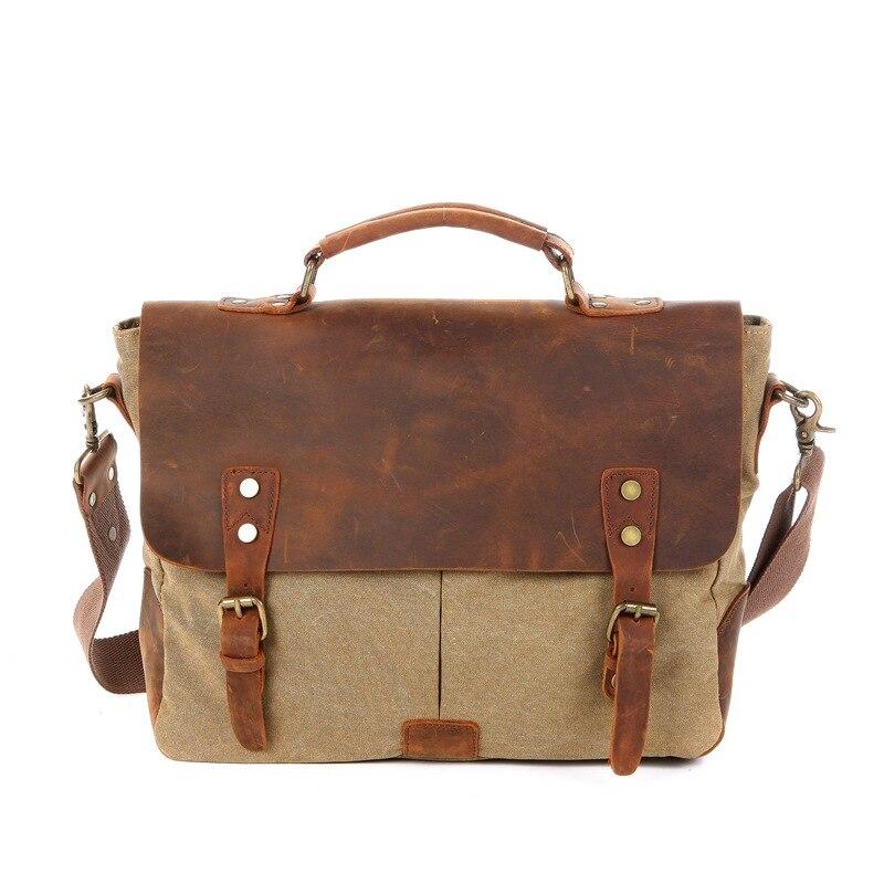 9d7c35a25e Men Vintage Canvas Shoulder Handbag Crazy Horse Leather Soft Computer Bag  Hasp Military Style Messenger Bag School Bag