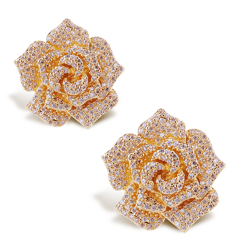 Cz Cubic Zirconia Earrings Rose Relief Real Flower Design Wedding Party Gold Pave Setting Women Best New Vc Mart