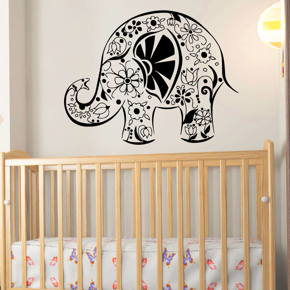 Elephant Indian Pattern Decal Wall Vinyl Decals Art Home Decor Sticker Removable Waterproof Wallpaper Yoga Stickers D239 In From