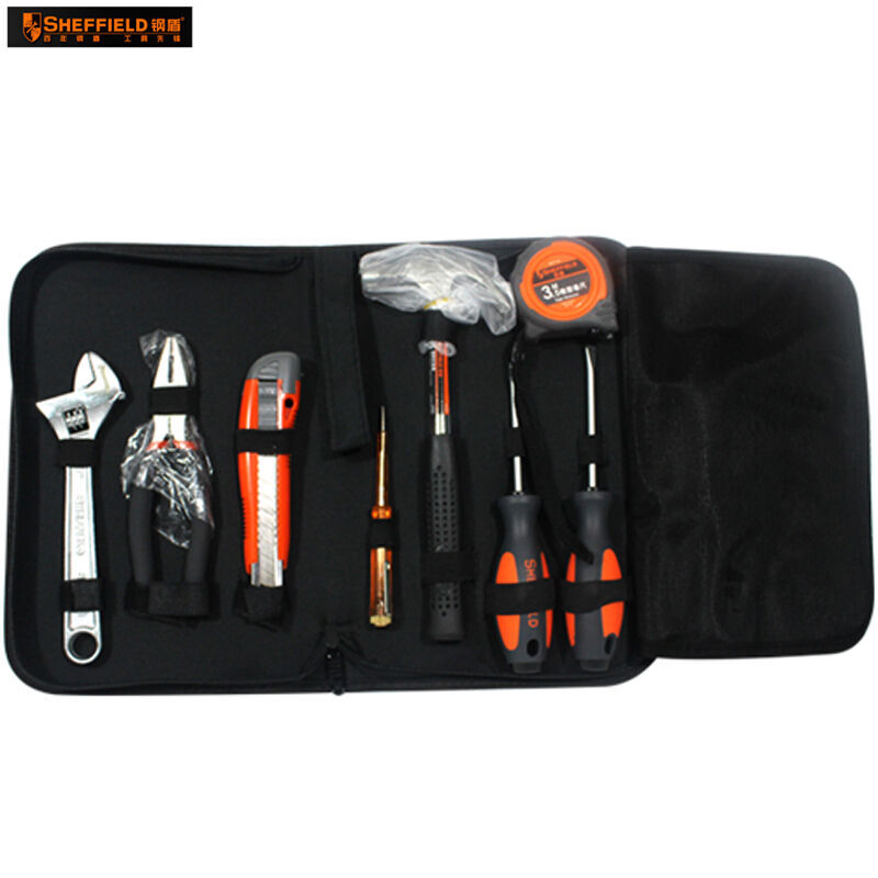 SHEFFIELD Hand Tool Set Kit Bag, adjustable wrench, pliers, knife, screwdriver, hammer, tape measure S022001 S022002 втулка задняя joy tech a076 v brake 36 h ось 3 8х160х110 мм под трещетку алюминий a076