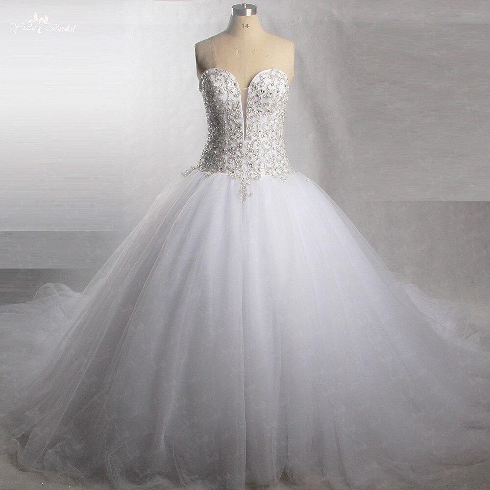 RSW430 Parfait Scintillant Chérie Tulle Robes De Mariée Avec Bling Cristal Perlé Robe De Mariée