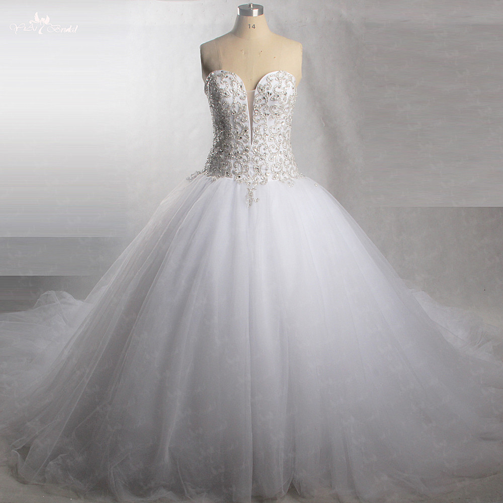 RSW430 Perfetto Sparkly Dell'innamorato Tulle Abiti Da Sposa Con Bling Rilievo di Cristallo Abito Da Sposa