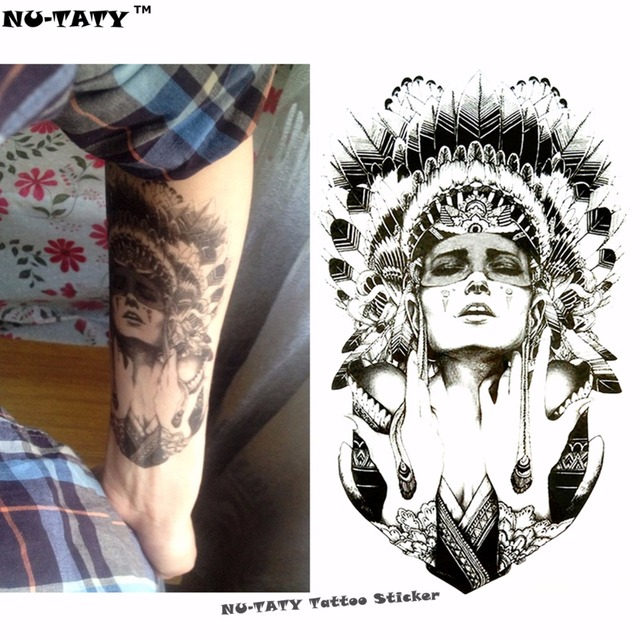 Nu-TATY Indian Warrior Temporary Tattoo Body Art Flash Tattoo Stickers 12x20cm Waterproof Fake Tatoo Styling Home Decor Sticker