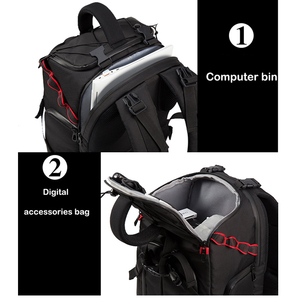 Image 4 - Jealiot SLR сумка для фотоаппарата рюкзак для фотоаппарата фоторюкзак чехол для линз сумки сумка для камеры Рюкзак DSLR цифровой 14 дюймов ноутбук фотография штатив дождевик объектив противоударный водонепроницаемый