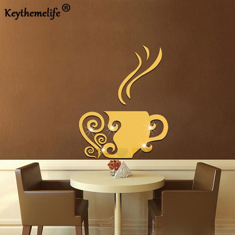 Keythemelife 1 Pcs Coffee Cup Mirror Wall Sticker Home Decor Wall Sticker Bedroom Living Wall Sticker B