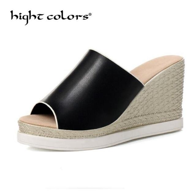 cdcb23cfe0385 Fashion Black White Casual Comfortable Women Slipper Flat Platform Flip  Flops Women Summer Shoes Platform Wedge Sandals US 10.5