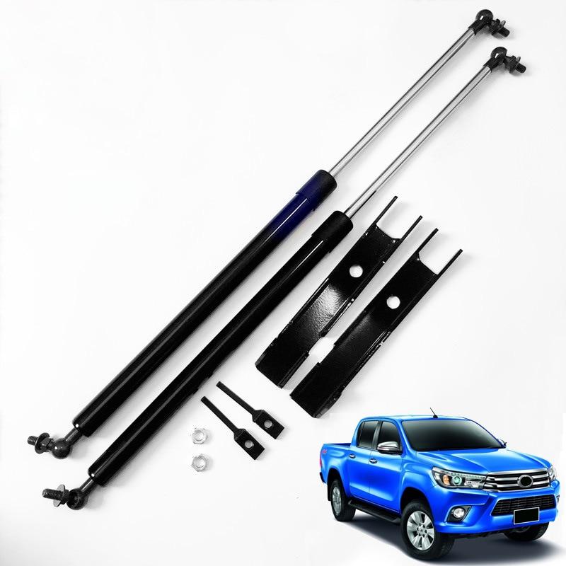 Pour Toyota Hilux Revo 2016 17 18 2019 couvercle de moteur en acier inoxydable tige de Support poteaux de Support de capot hydraulique ressorts à gaz