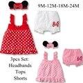 Bonito dos desenhos animados meninas 3 peça set dress + calça + headband do Filhos Recém-nascidos Roupas Bebe infantil Terno Verão Crianças Desgaste Do Bebê Roupas