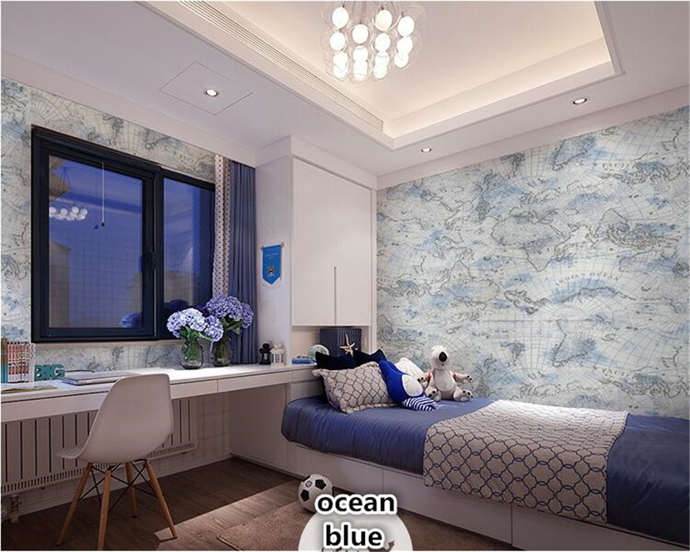 beibehang Retro fashion maps, environmental protection nonwoven wallpaper living room study barber shop TV background wall paper beibehang wall paper pune girl room cartoon children s room bedroom shop for environmental non woven wallpaper ocean mermaid