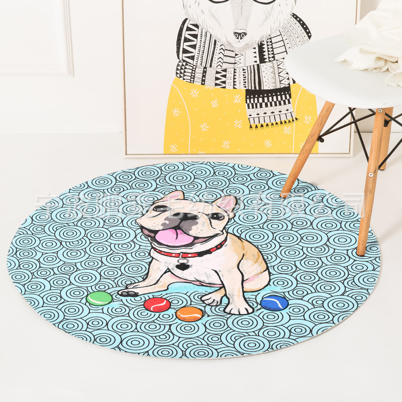Cute dog Print Round Carpets For Child Living room Crawl Rugs Kids Game bedroom Mat Bathroom Anti-sliding Wear-resistant mat Rug