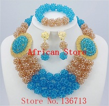 2015 Best Selling Red African Crystal Beads Jewelry Set Nigerian Beads For African Wedding Free Shipping BC302-7