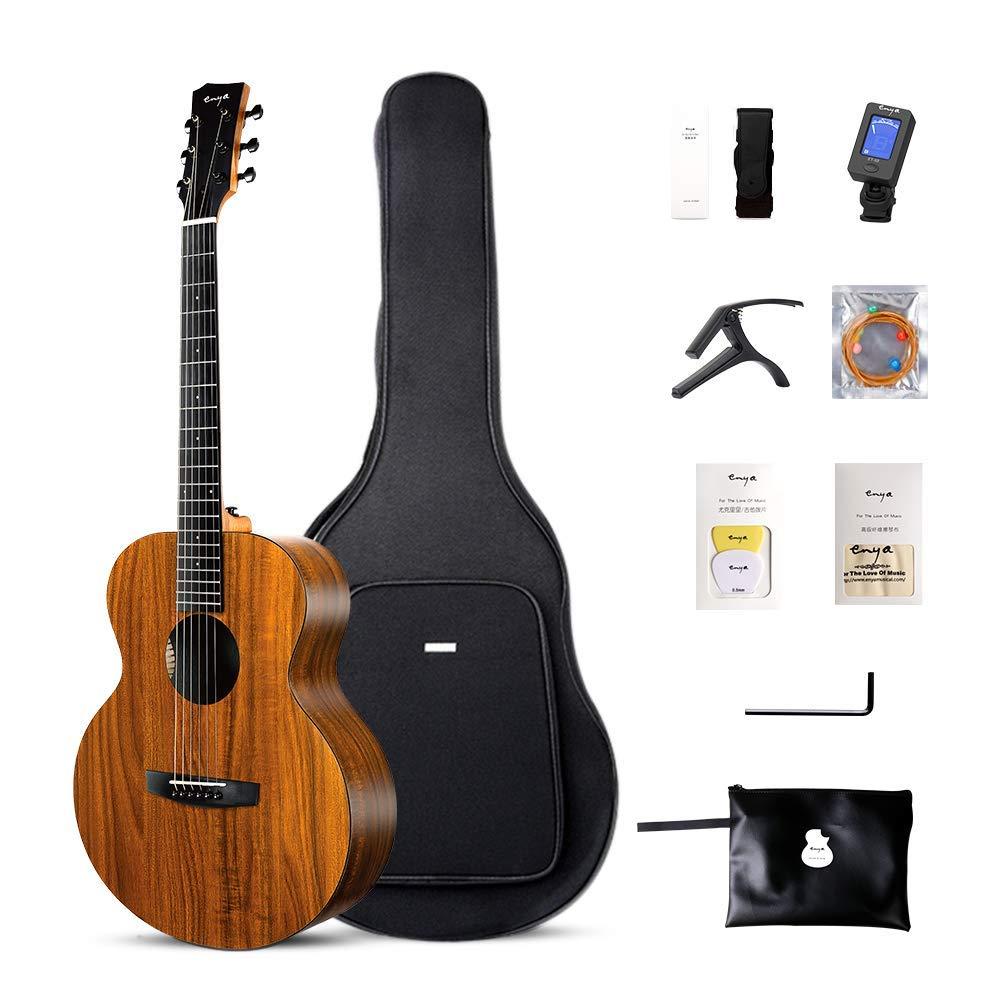 Enya EA-X1/EQ 41 pouces guitare acoustique koa-motifs HPL bois pension complète avec sac Tuner Capo livraison Express livraison gratuite