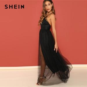 Image 3 - SHEIN Black Night Out Plunging Neck Deep V Neck Crisscross Back Cami Sleeveless Backless Dress Women 2018 Summer Sexy Dresses