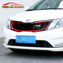 Replacement Sport RS style Red+Glossy Black Honeycomb Front Mesh Grille For Kia Rio K2 2011 2012