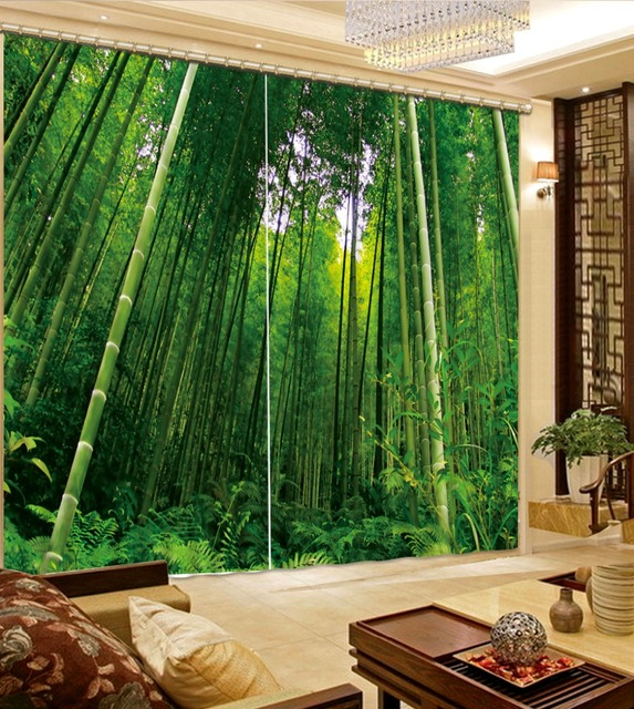 Superior Home Bedroom Decoration 3D Bathroom Shower Curtain Green Bamboo Forest 3D  Curtains For Bedroom Blackout Curtain