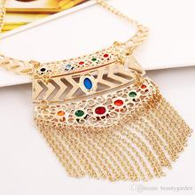 18pcs/lot Colorful Gemstone Necklace With Tassel Woman's Party Banquet Jewelry Neck Chain Sweater Chain jn147 цена 2017