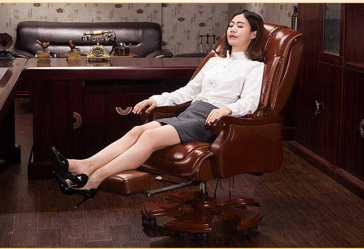 Home Leather Boss Chair Office Chair Massage Reclining Chair Computer Chair Leather Solid Wood Chair.