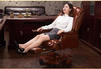Home leather boss chair office chair massage reclining chair computer chair leather solid wood chair. replica fritz hansen swan chair leather