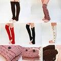 Guarnição do laço punhos botão Knit aquecedores meias até o joelho meias Boot bota inverno quente torção da perna mais quente para o natal