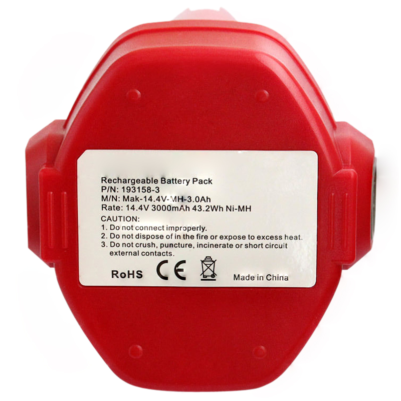 HFES nouvelle batterie 14.4 V 3000 MAh Ni-MH pour MAKITA 1420 1422 1433 1434 1435 192699-A rouge