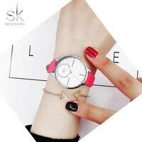 Shengke Luxury Women Watches Lady S Slim Leather Wristwatch Creative Quartz Saat Fashion Dress Watch Relogio