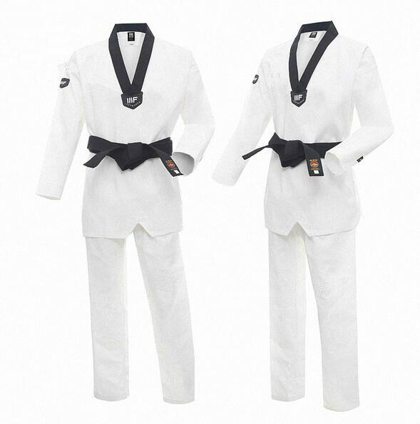 2017 Moo TaeKwonDo Dobok uniforme corée WTF rouge noir ou noir col en v TKD uniformes vêtements de karaté WTF approuvé Taekwondo uniforme