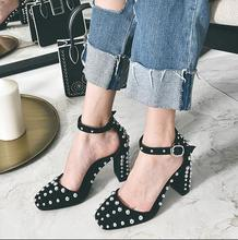 2017 Sandals Female Summer High-Heeled Genuine Leather Thick Heel Sexy Square Toe Fashion All-Match Women Heel Shoes