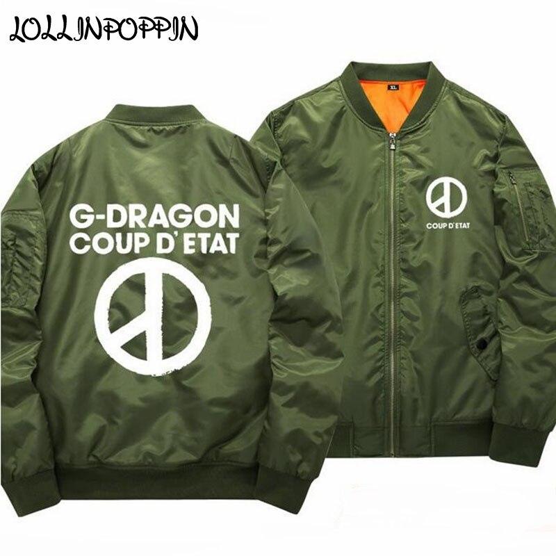 GD Letters Printed Bomber Jacket Men KPOP MADE Baseball Jackets New 2019 Mens Aviator Jacket Army Green / Black Coat